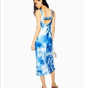 Topshop tie dye buckle slip midi dress blue white